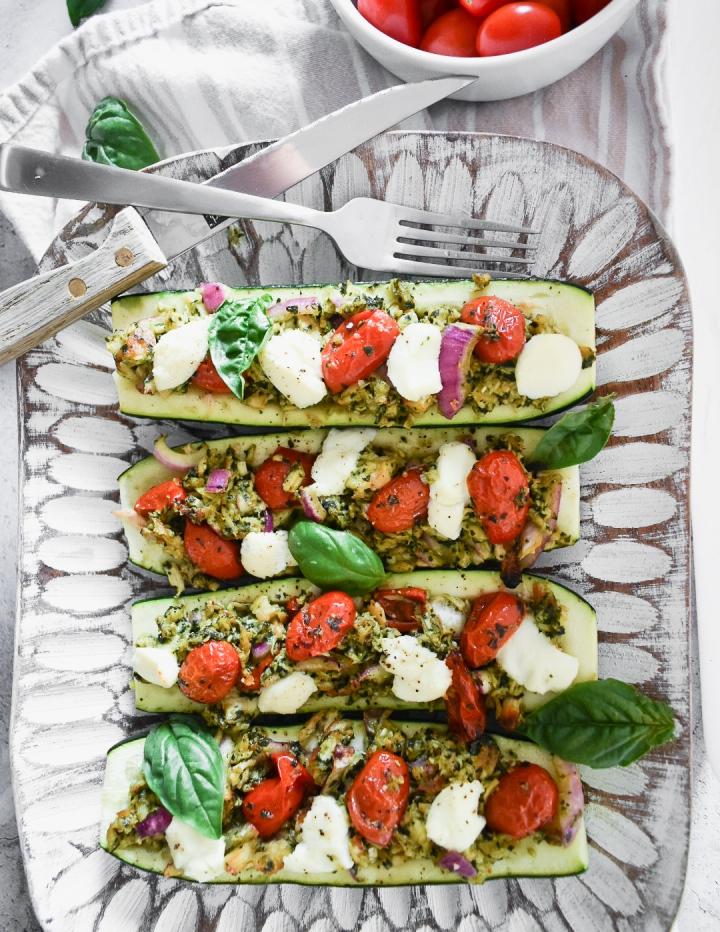 Pesto Zucchini Boats